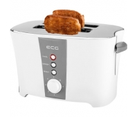 ECG Toaster ECGST818, 800 W, Double slot, Light Indicator, Temperature regulation 7 levels, White color