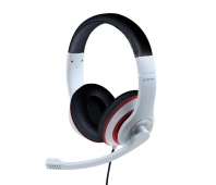 GEMBIRD MHS-03-WTRDBK Stereo headset with microphone black and white color with red ring