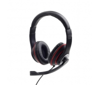 GEMBIRD MHS-03-BKRD Stereo headset with microphone black color with red ring
