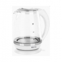 ECG Electric kettle RK 2020 White Glass, 2 L, 360° base with power cord storage, Blue backlight, 1850-2200 W