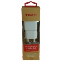 TOTI Wall Charger with Lightning Cable, 1 m, Dual USB 2.4A (White)