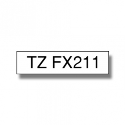 Brother TZe-FX211 Flexible ID Laminated Tape Black on White, TZe, 0.6 cm, 8 m