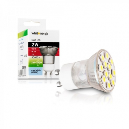 Whitenergy LED Bulb| 12xSMD 5050| MR11| GU10| 2W| 230V|cold white|w/o glass cover