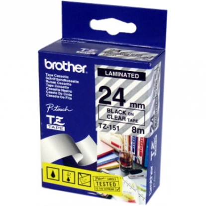 BROTHER TZE151 24 BLACK ON CLEAR