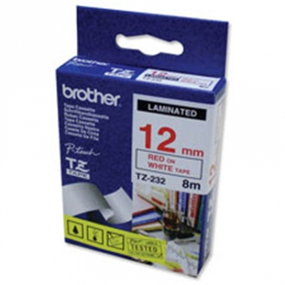 BROTHER TZE232 12 RED ON WHITE