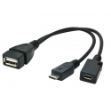 Gembird cable USB OTG AF to micro BM + micro BF, 0,15 m