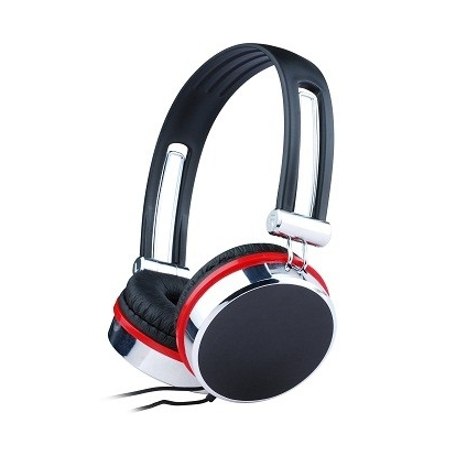 Gembird stereo headphones with microphone and volume control, black/silver/red