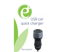 Gembird Mini 2-port USB automobilinis 1xQC 3.0, juodas