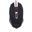 Gembird gaming optical mouse 2400 DPI, 6-button, USB, black with red backlight