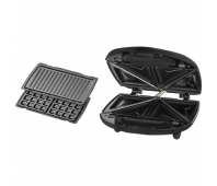 ECG ECGS 299 3 in 1 Black Sandwich maker, 3 different detachable plates: Triangular, Sandwiches, Panini Waffles, Non-stick plates