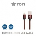 Leather Micro USB cable T-UU23 (Brown)